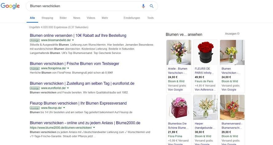 Screenshot Beispielsuche Search-Anzeigen Google