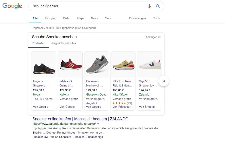 Screenshot Shopping-Anzeigen Google