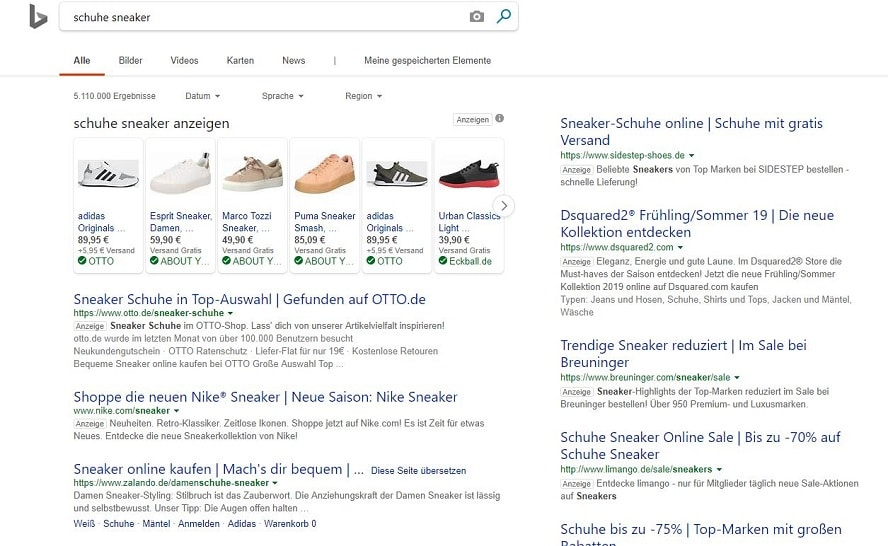 Screenshot Shopping-Anzeigen Bing