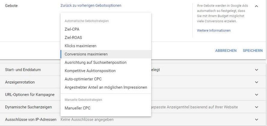 Übersicht Google Ads Gebotsstrategien