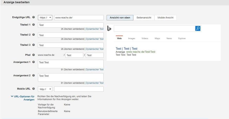 Bing Anzeigen-Bearbeitung