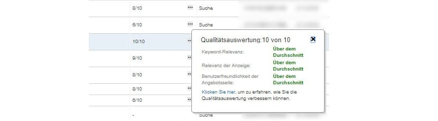 Bing Qualitätsauswertung
