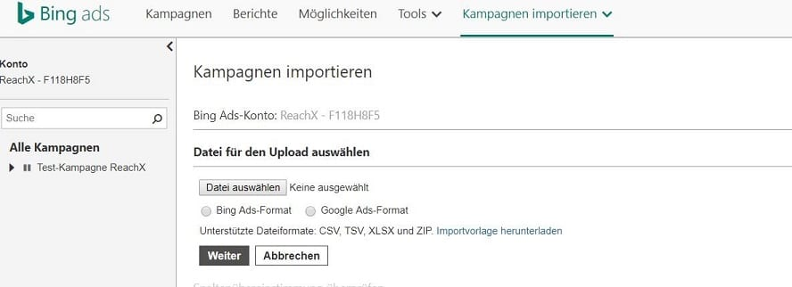 Google-Ads Kampagnen-Import in Bing