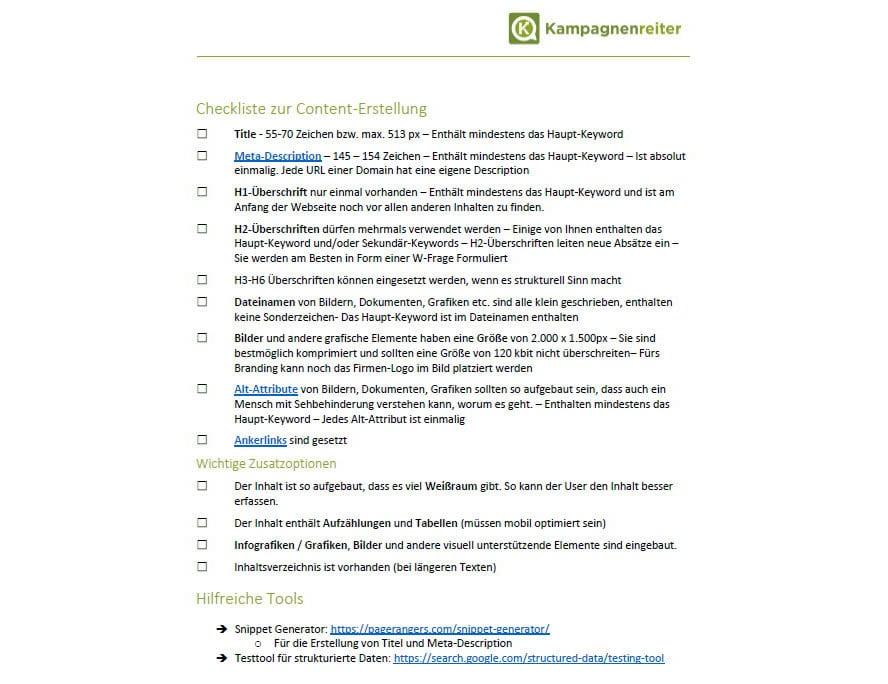 Mit dieser Checkliste zur Contenerstellung werden Deine Inhalte im Internet sichtbar
