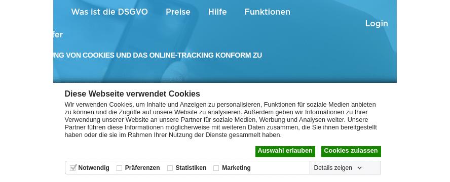 Cookie-Einwilligung der Website cookiebot.com