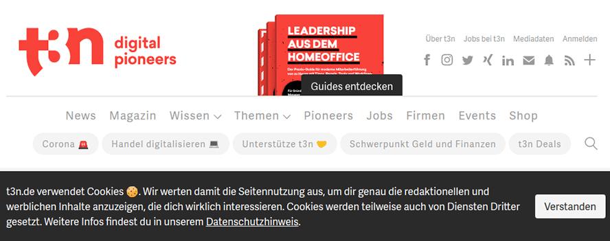 Cookie-Hinweis der Website t3n.de