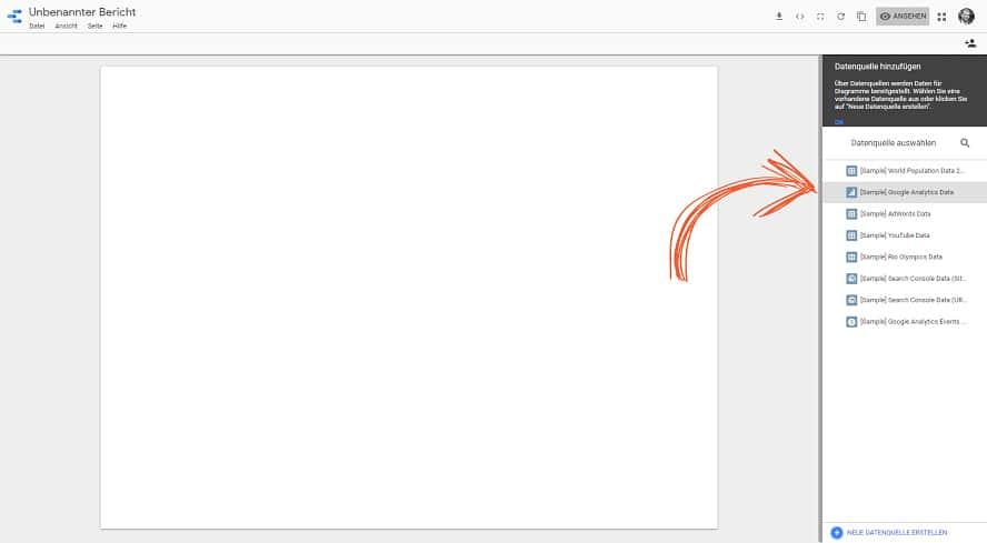 Eine Datenquelle in Google-Data-Studio anschließen.