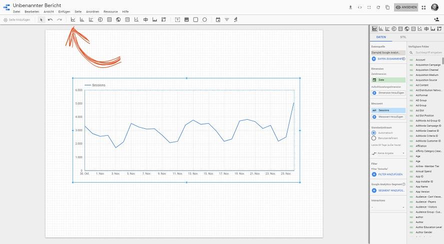 Ein Diagramm im Google-Data-Studio Bericht hinzufügen.