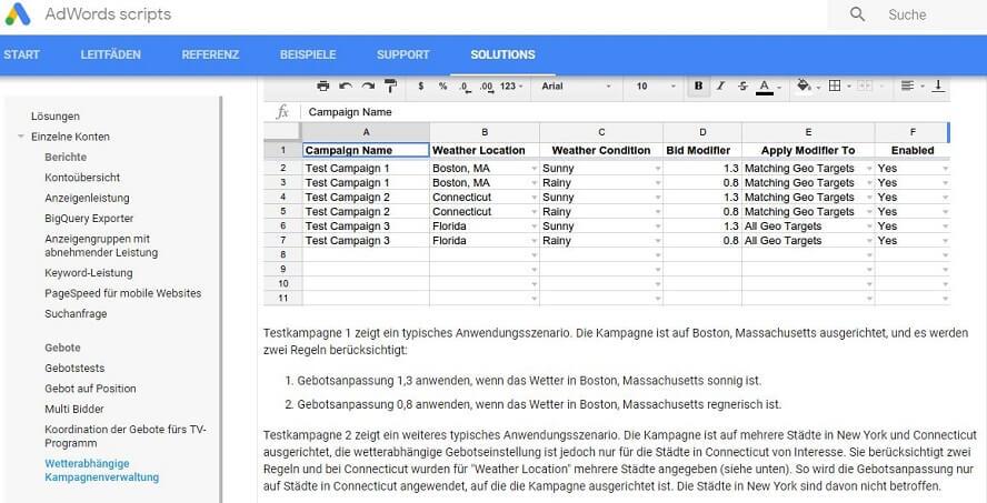 Scripts für wetterabhängige Kampagnenverwaltung