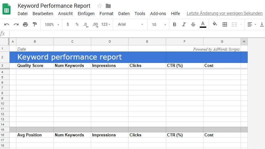 Spreadsheet Keyword Performance Report