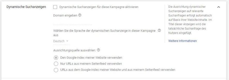 Einstellungen für Dynamischen Suchanzeigen in Google Ads