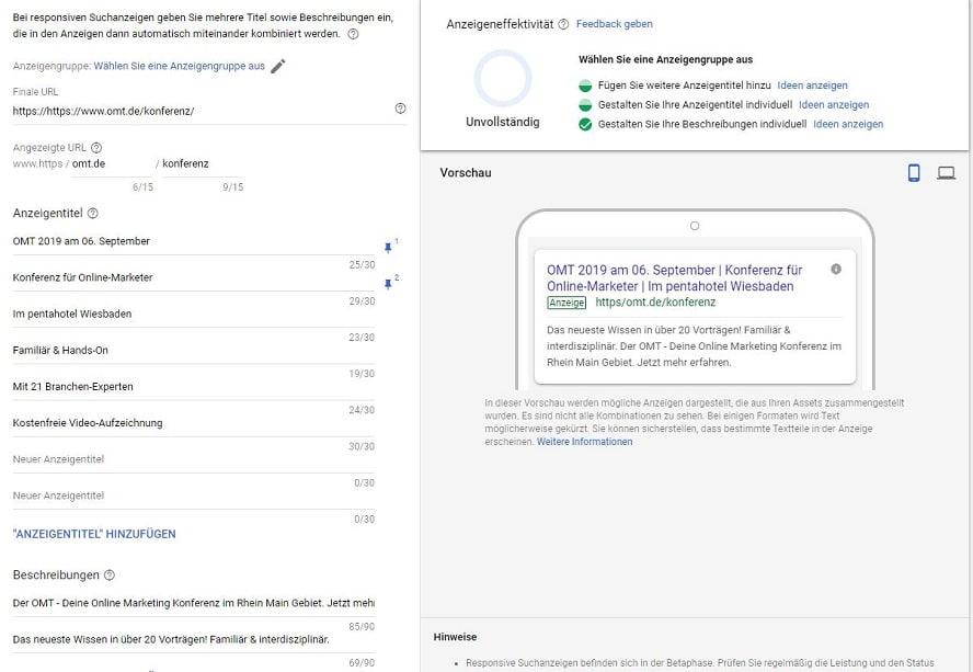 In diesem Fall hat Google den Anzeigentitel noch nicht dynamisch ersetzt, da ich mich im Erstellmodus und nicht in der Google-Suche befinde.
