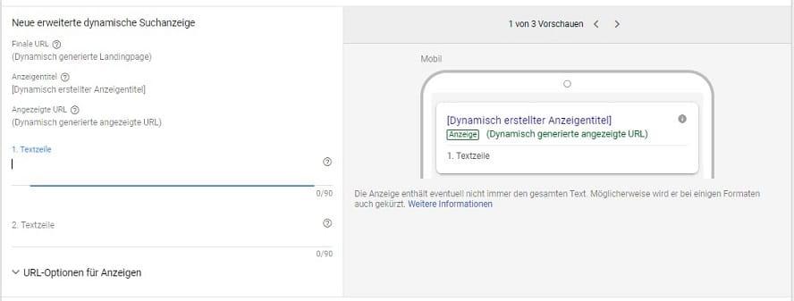 Erweiterte dynamische Suchanzeige in Google Ads