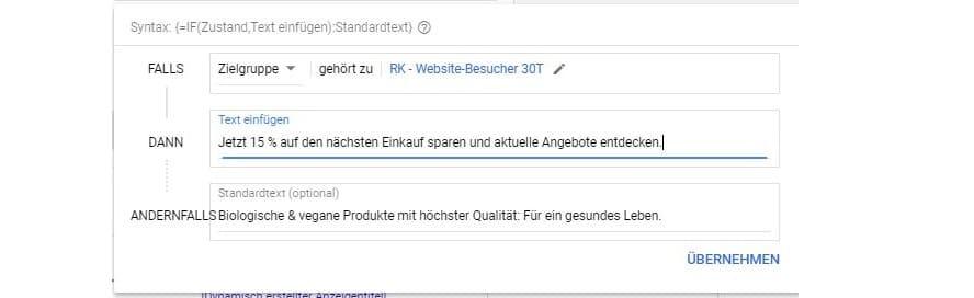 Beispiel-Text für IF-Funktion in Google Ads