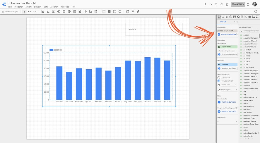 Eigene Daten in Google-Data-Studio hinzufügen.