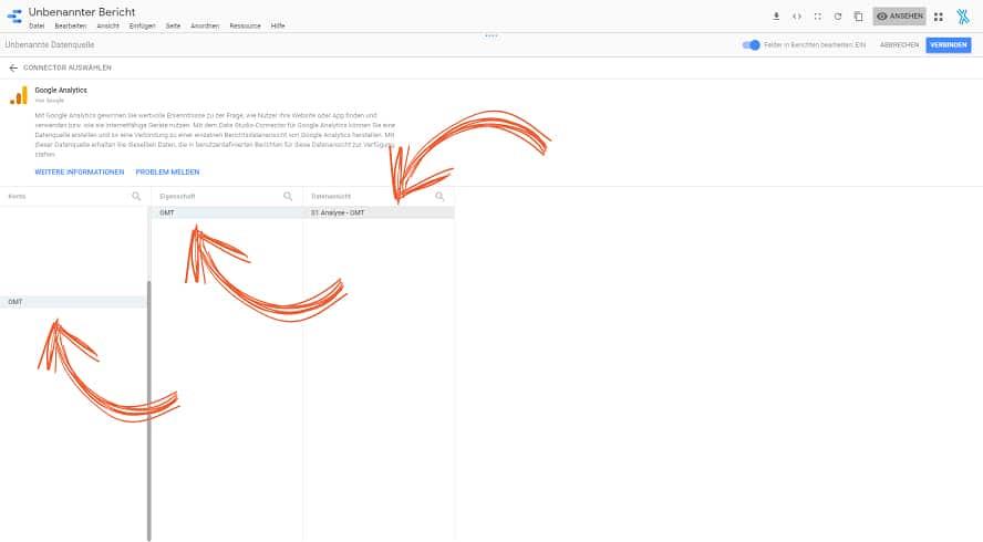 Die eigene Datenquelle in Google-Data-Studio verbinden.