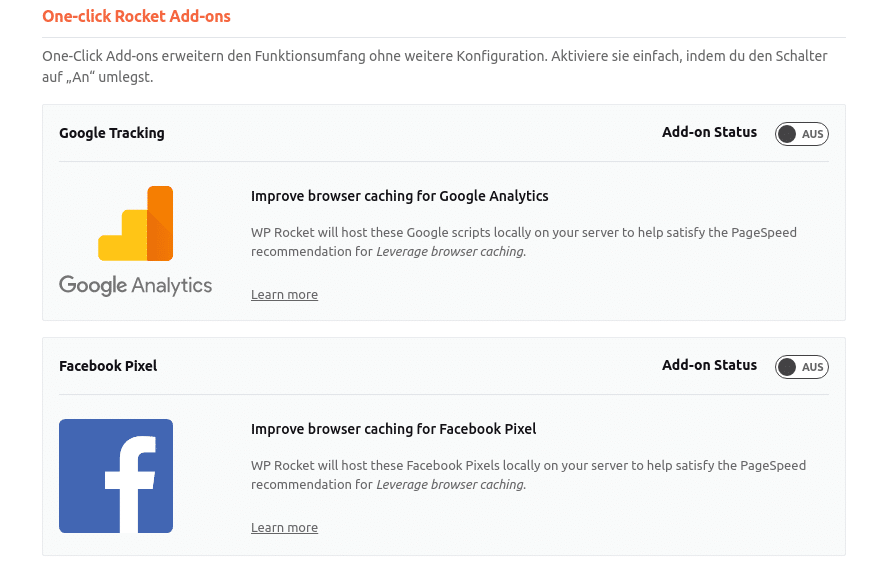 Lokale Einbindung von Googles Analytics-Script und Facebooks Pixel-Script in WP Rocket