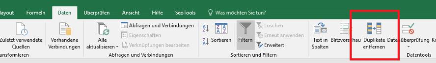 Doppelte Einträge in Excel entfernen um interne Ankertexte für die SEO-Automatisierung zu analysieren