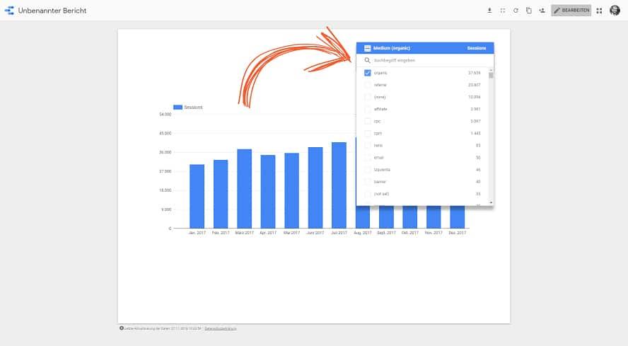 Die Filtersteuerung von Google-Data-Studio im Ansichtsmodus nutzen.