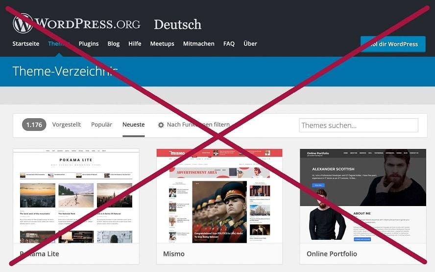 finger-weg-von-kostenlosen-wordpress-themes - Screenshot des WordPress.org Theme-Verzeichnis