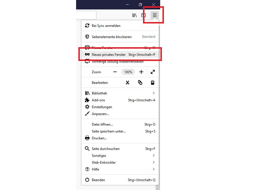 Privates Fenster in Mozilla Firefox öffnen, um die Suchintention zu analysieren.