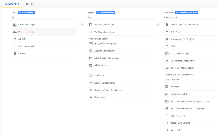 Aufbau Google Analytics - Drei Teilbereiche