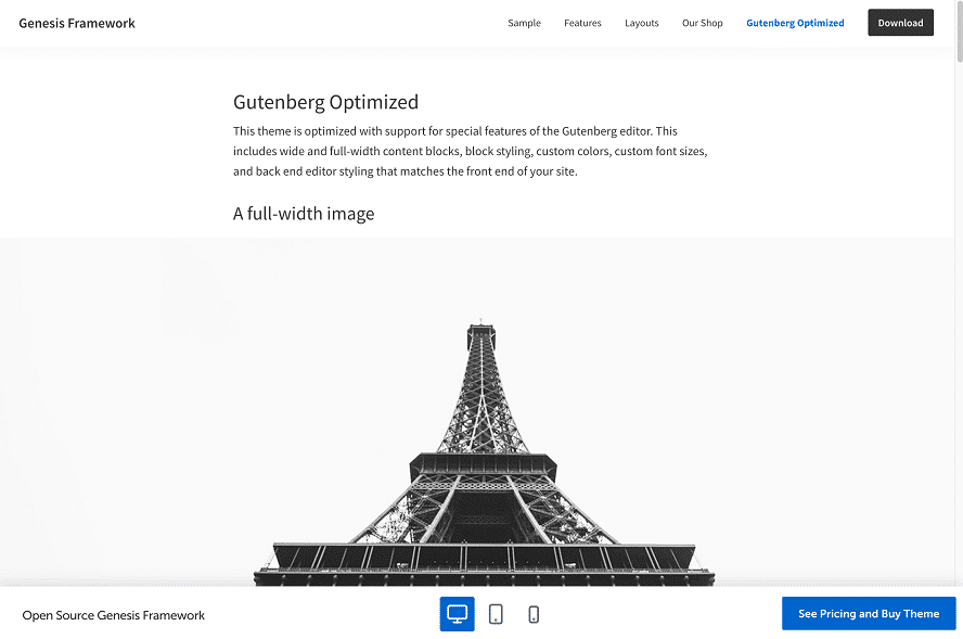 Screenshot vom Genesis Framework