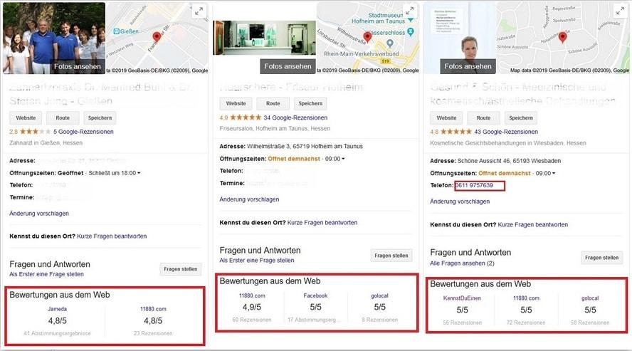 Google My Business Optimierung warum sind Bewertungen im Local Pack so wichtig?