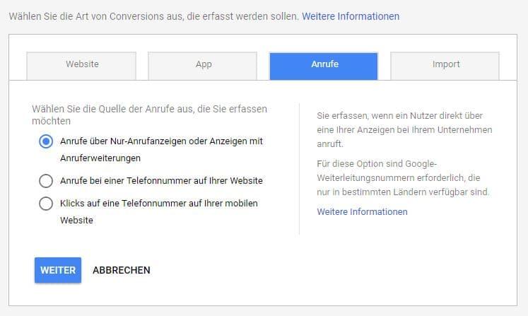 Einstellungen für Anruf-Conversions in Google Ads