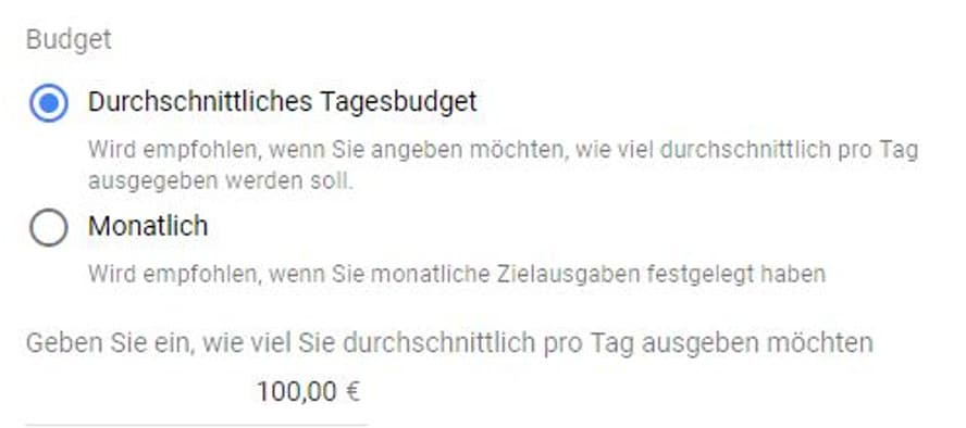 Budgets in den Google-Ads-Kampagneneinstellungen