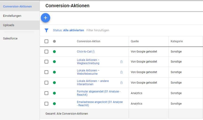 Conversion-Aktionen in Google Ads