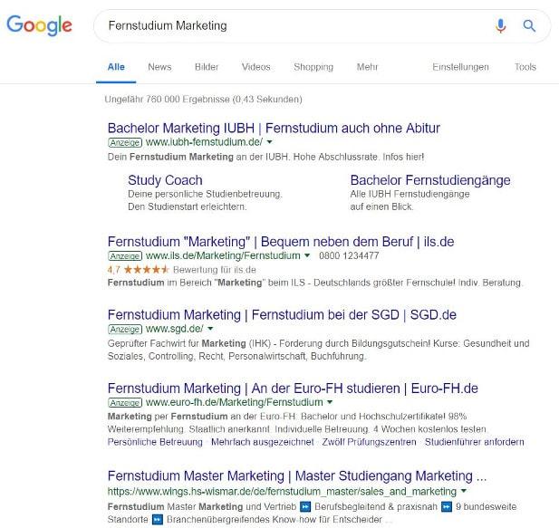 Persönliche Anzeige der Website Beispiel