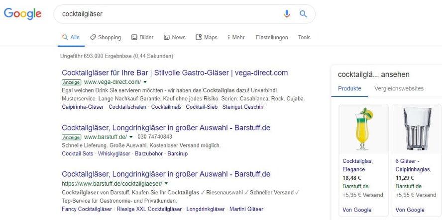Beispiel-Google-Suche mit Keyword im Anzeigentext