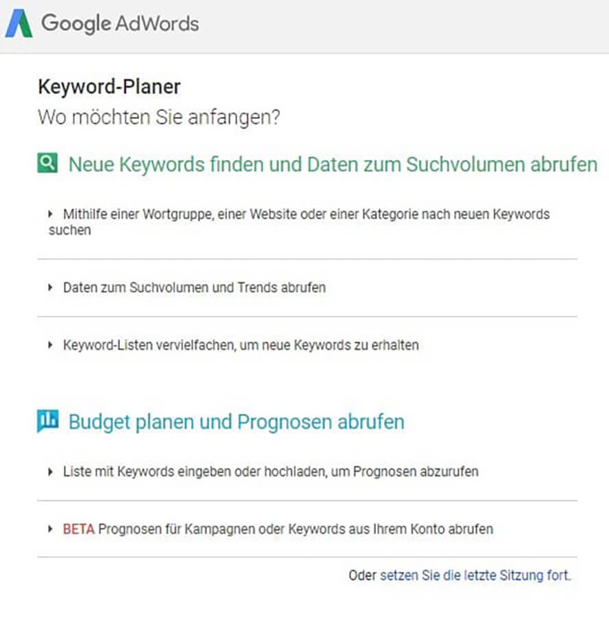 Ansicht des alten Google Keyword Planners