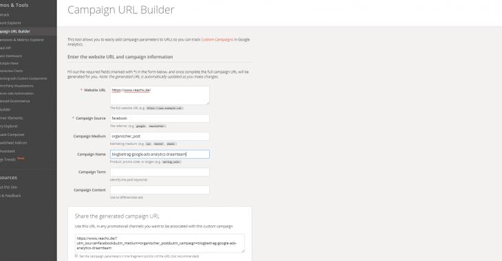 google ads mit analytics verknüpfen campaign url builder ausgefüllt 730x380