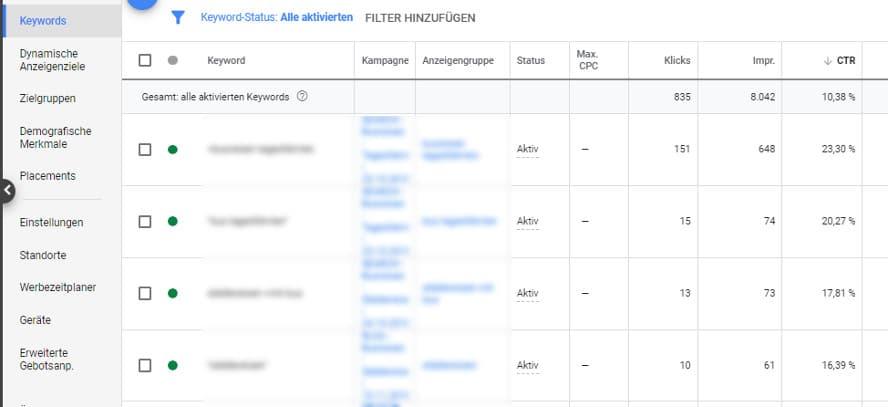 Ansicht Google-Ads-Suchbegriffe im Konto