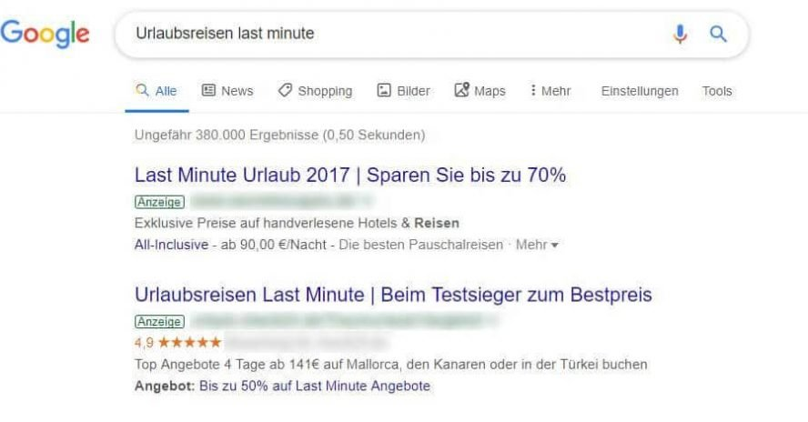 Google Ads Beispiele Zahlen und Zeichen