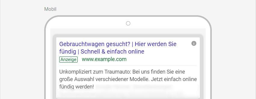 Google-Ads-Beispiel inklusive Fragestellung