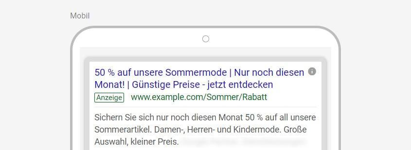 Google-Ads-Beispiel Verknappung