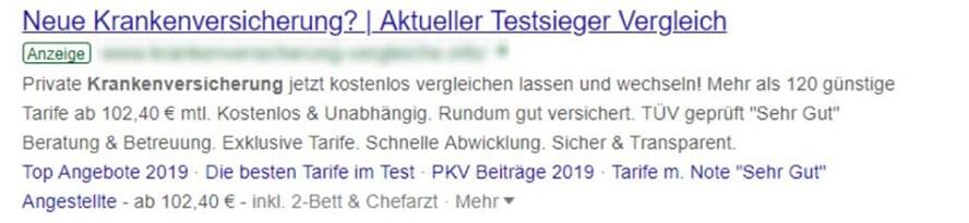 Google-Ads-Beispiel mit Anzeigenerweiterungen