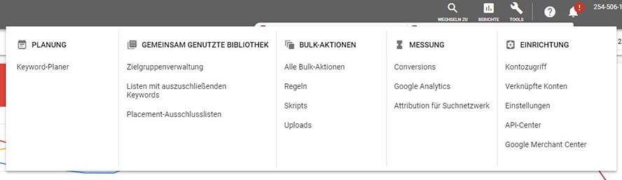 Conversions unter Tools in Google Ads
