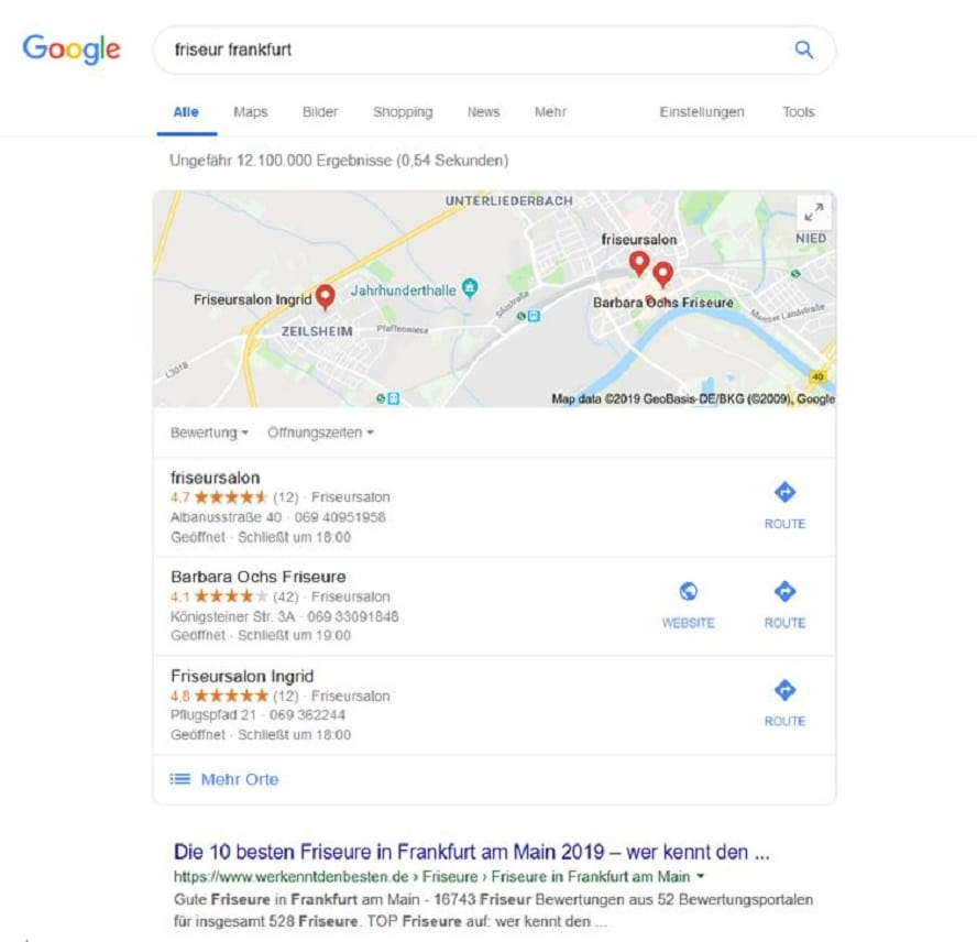 Google My Business Optimierung SERPs mit local Pack