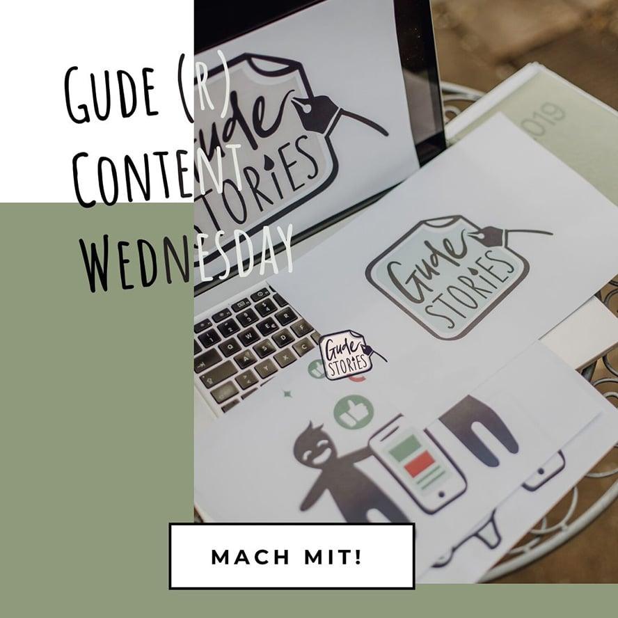 Beim GUDE Stories Content Wednesday treffen wir uns jeden Mittwoch um 10 Uhr live auf Instagram, besprechen ein Schwerpunktthema aus dem Bereich Social Media Marketing und planen unseren Content.