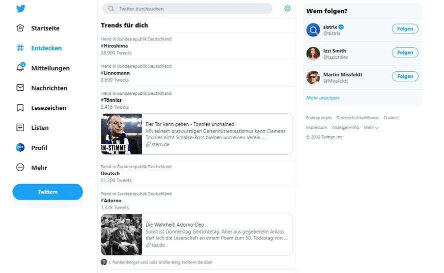 Hashtag-Suche in Twitter