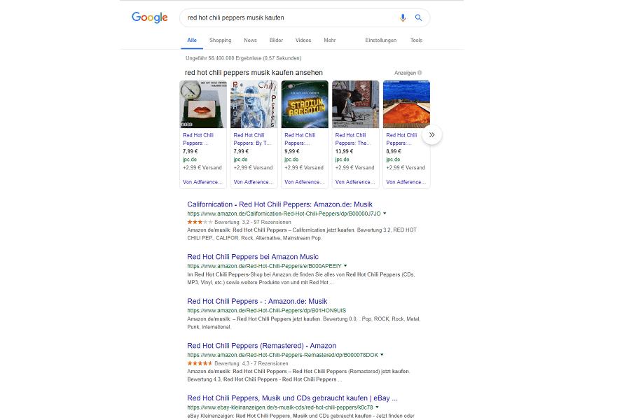 Beispiel für die Suchintention bei einer Kommerziell getriebenen Suchanfrage.