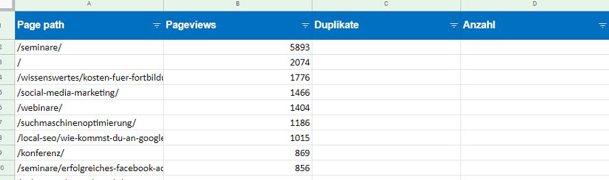 Formatierung der Tabelle für die SEO-Automatisierung der Trailing Slash Problematik
