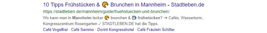 Emoji in Title und Desciption eines Meta-Snippets.