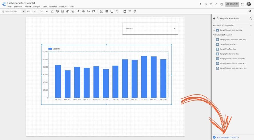 Eine neue Datenquelle im Google-Data-Studio Bericht erstellen.