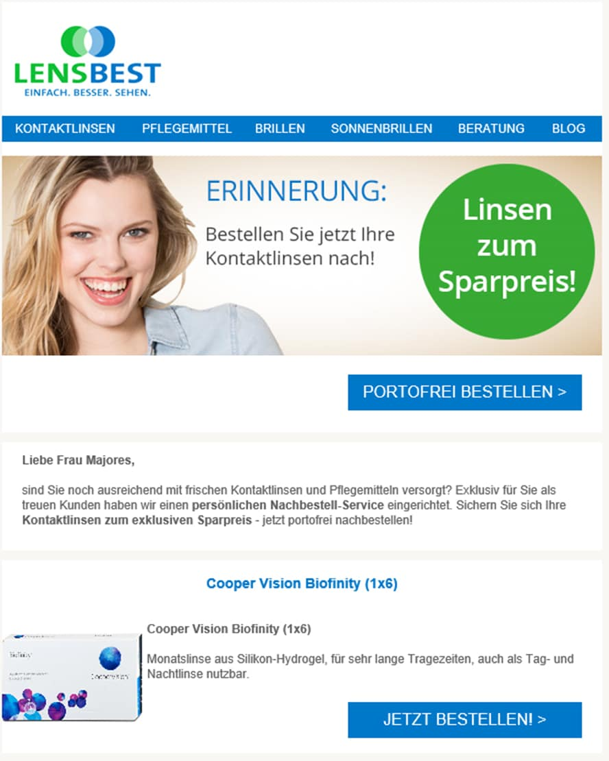 newsletter-lensbest - kundenbindung im e-commerce