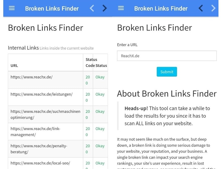 SEO App Broken Links Finder OMT